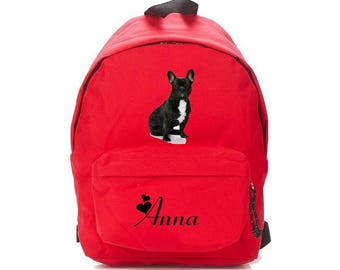 french bouldog red backpack personalized with name