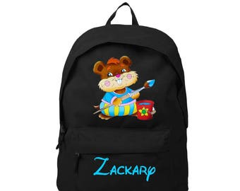 Black mouse backpack personalized with name