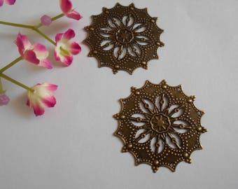 x 4 print flower filigree bronze 43 x 43 mm