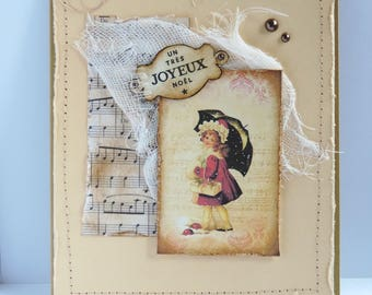 "Christmas greeting card, ""little girl with umbrella"" vintage inspired handmade"