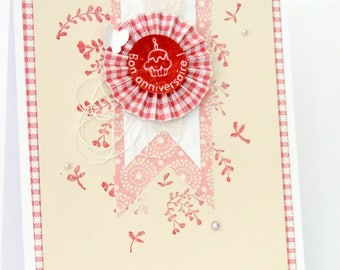 birthday card for woman, romantic, shabby with rosette, lace, pearls