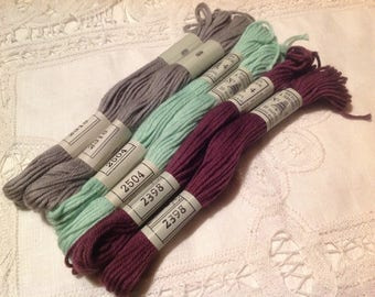 Set of six skeins of cotton embroidery old plied No. 4