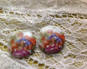Old cabochon 17mm in Limoges porcelain