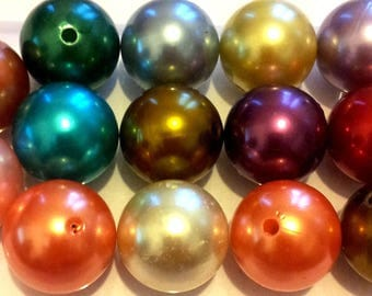 Set of 14 large acrylic beads - multicolor Pearl - 20 mm T3