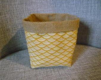 mustard yellow Japanese pattern basket