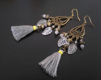 Earrings: Gray and jade tassels