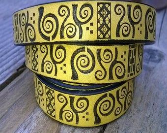 20cm Strip saffron and black imitation leather, pattern Inca 11.5 * 2 mm