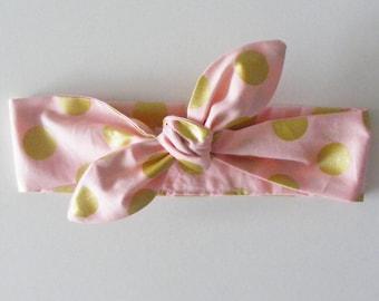 Bandeau / headband coton rose pale gros pois dorés, pour bébé, enfant et adulte