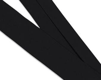 Organic cotton bias. Black · Préplié · 50 cm