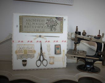 Linen sewing themed frame