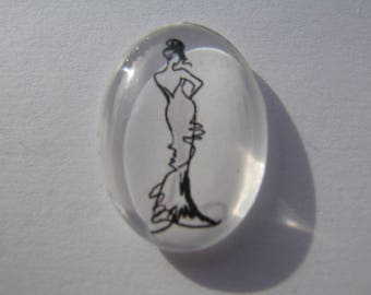 Cabochons 25 x 18 mm with an image of woman