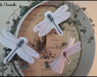 Dragonfly libellules imprimées sur tissu en lin blanc et papier noir et blanc