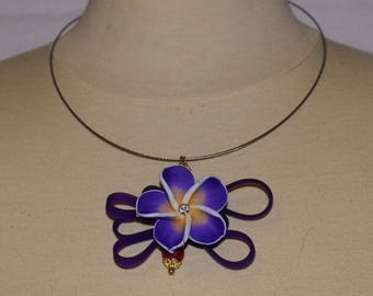 violet flowers tiara and silicone necklace