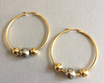 Earrings Creole gold decorated beads