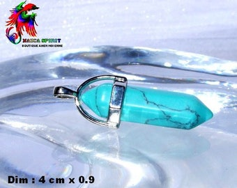NEW! Pendant bail Ouvragee silver plated and Turquoise set - size needle: 4 cm x 0.9 cm
