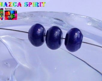 6 large beads of Jade shape wheels dyed Navy Blue with 12 mm x 8.5 mm