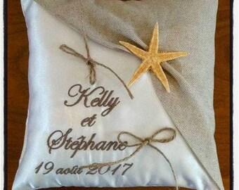 natural linen ring bearer pillow - wedding theme sea star Tan taupe