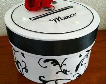 Round money box for wedding anniversary retirement communion / black and white baroque / envelope urn / pot