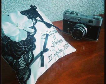 Ring pillow custom cushion with orchids and lace / black and white wedding