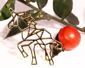2 charms origami Unicorn metal 30mm