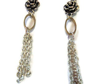 Earrings, silver, pink and silver chain