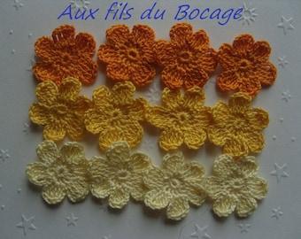 Applique flower crochet cotton yellow, 3 cm