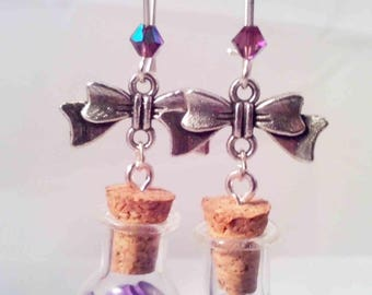 """Purple Hearts & bubble vial"" earrings"