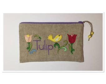 KIT EMBROIDERED BIRD AND TULIPS