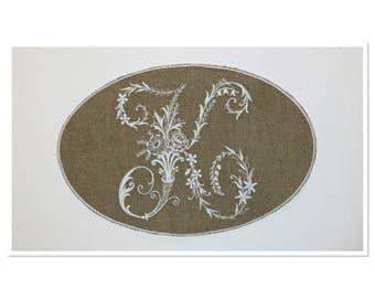"""Monogram Letter """"K"""" in white embroidery on linen Medallion"""