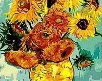 Adults Paint by Numbers Kit - Framed Canvas - 40x50cm - Sunflowers by Van Gogh