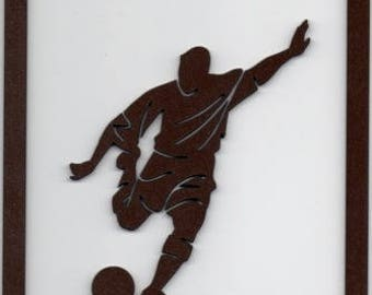 Football, football, player frame silhouette wood cut and painted