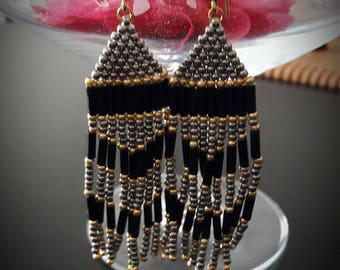 Woven fringed beaded earrings