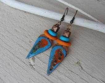 ethnic dangle earrings with enameled copper Spike and polymer clay, turquoise and bright orange beads, tribal spirit