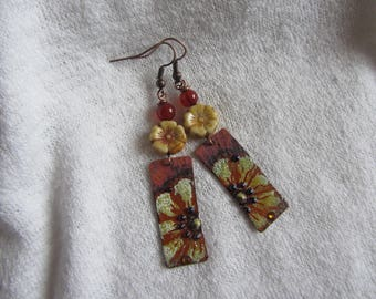 Dangle earrings with rectangle charms copper enameled yellow flower Czech glass, stone Brown agate, rhinestone