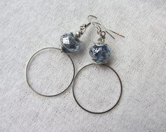 Bohemian chic earrings simple and stylish ring in silver, Czech glass, blue and silver rondelle bead