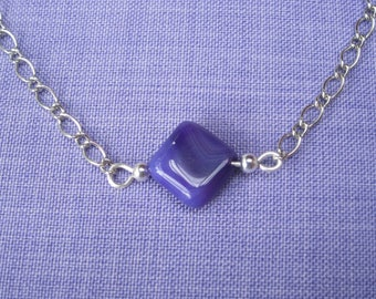 Fine silver plated necklace and purple square agate bead