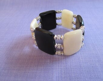 Bracelet vegetable ivory two-tone and findings silver