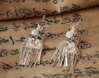 Solid 999 filigree Silver earrings
