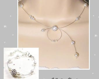 Set white wedding 2 PCs - Collection Classica - Emma necklace - wedding party - wedding bracelet and necklace white pearls