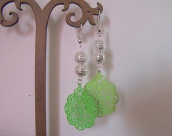 two Green Pearl Silver Stamp earrings
