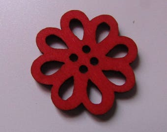 set of 4 appliques embellishments in red wooden 20mm in diameter