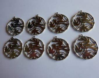 8 charms pattern bird color 34x31mm