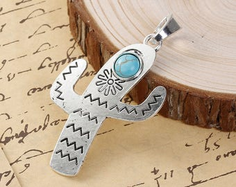 79mm x 42mm synthetic turquoise inlaid cactus charm