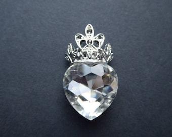 Crystal heart 32x19mm ornate charm