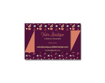 Business card Burgundy and colored leaves attached to your banner