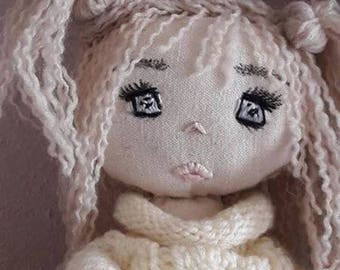 Doll shabby chic skater, soft linen, cotton dress flowers