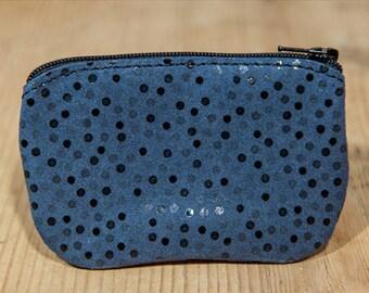 Glittery blue leather wallet
