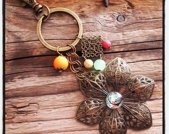 handbag charm / key theme bronze lace flowers and multicolored beads
