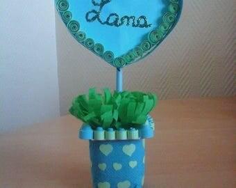 Mark up green and blue flower pot