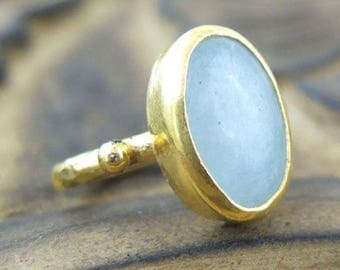 Aquamarine and gold ring brushed - plated gold 750/000 - size 53